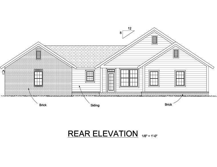 Bungalow Craftsman House Plan 66513 Rear Elevation