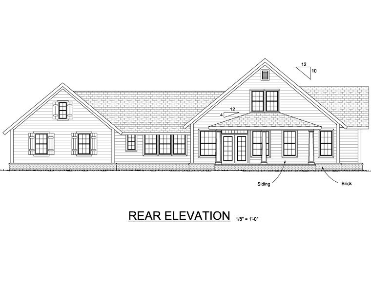 Country Farmhouse Traditional House Plan 66514 Rear Elevation