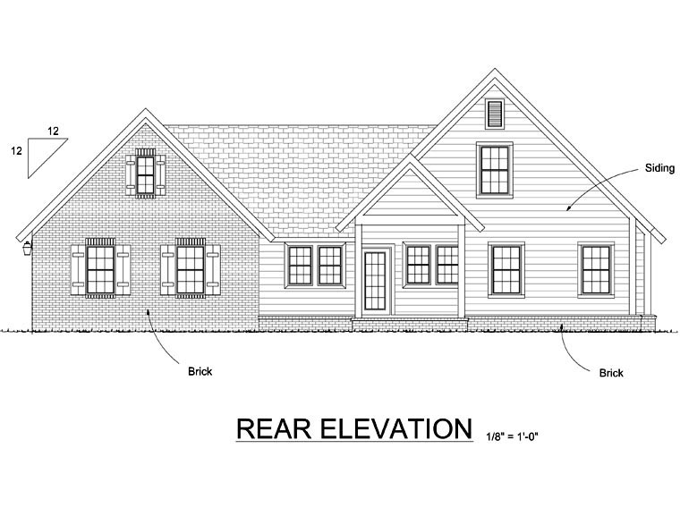 Cottage, Craftsman House Plan 66515 with 3 Beds, 3 Baths, 2 Car Garage Rear Elevation