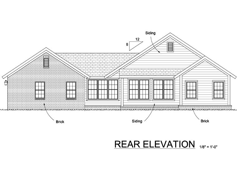 Cottage Craftsman House Plan 66516 Rear Elevation