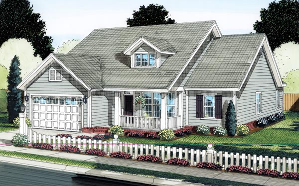 House Plan 66517 | Traditional Style Plan with 1571 Sq Ft, 4 Bedrooms, 2 Bathrooms, 2 Car Garage Elevation