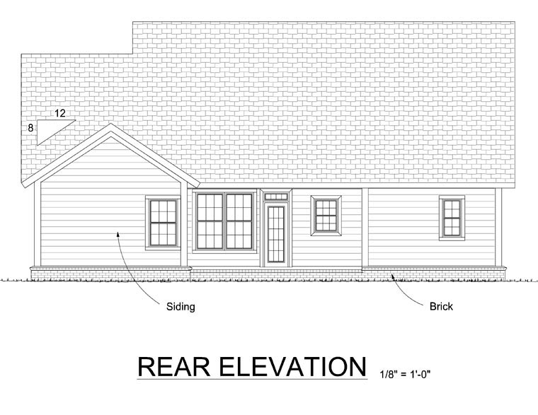 Traditional House Plan 66517 with 4 Beds, 2 Baths, 2 Car Garage Rear Elevation