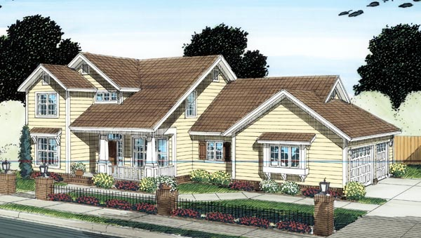 Craftsman, Traditional House Plan 66518 with 4 Beds, 4 Baths, 3 Car Garage Front Elevation