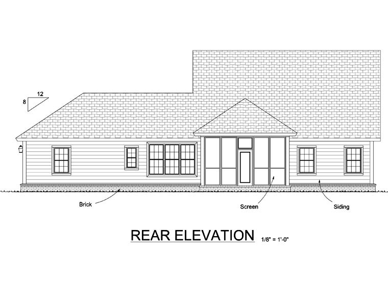 House Plan 66519 | Traditional Style Plan with 1897 Sq Ft, 3 Bedrooms, 3 Bathrooms, 2 Car Garage Rear Elevation
