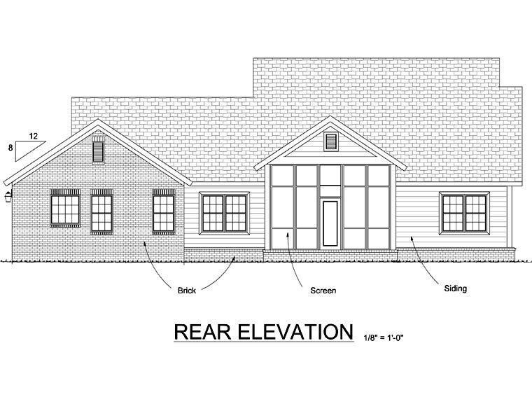 Craftsman Traditional House Plan 66520 Rear Elevation