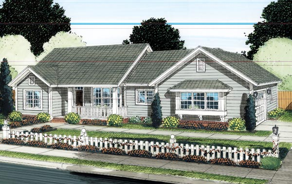 Ranch Traditional Elevation of Plan 66521
