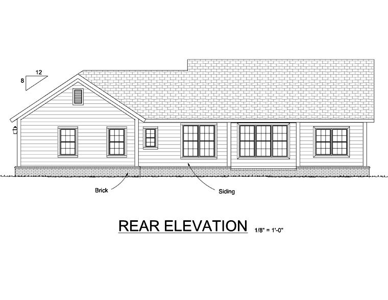 Ranch Traditional Rear Elevation of Plan 66521