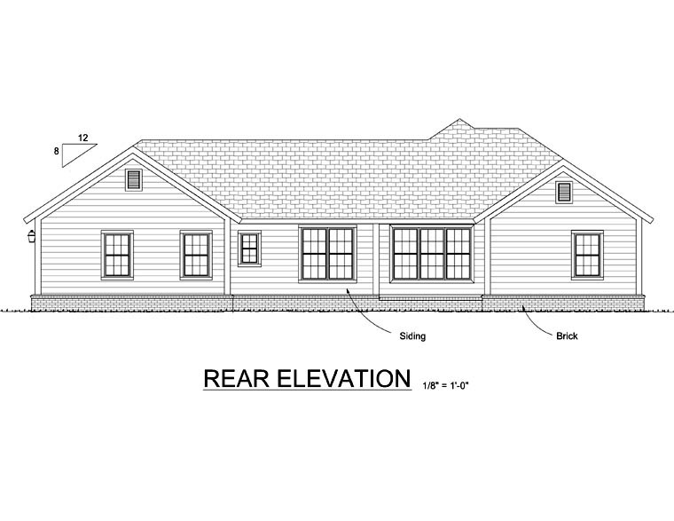 Ranch Traditional House Plan 66522 Rear Elevation