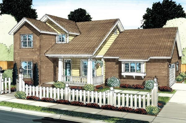 Traditional House Plan 66523 with 3 Beds, 3 Baths, 2 Car Garage Elevation