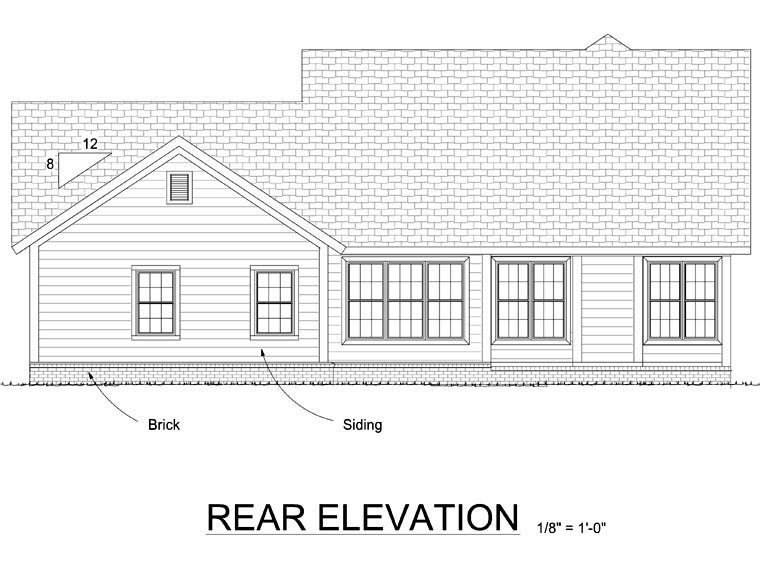 Traditional , Rear Elevation of Plan 66523