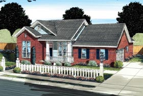 House Plan 66524 | Traditional Style House Plan with 1332 Sq Ft, 3 Bed, 2 Bath, 2 Car Garage Elevation