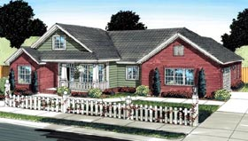 House Plan 66525 | Traditional Style Plan with 2027 Sq Ft, 3 Bedrooms, 2 Bathrooms, 2 Car Garage Elevation