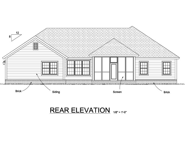 Traditional House Plan 66525 Rear Elevation