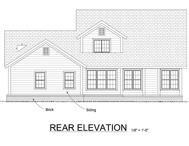 Traditional House Plan 66526 Rear Elevation
