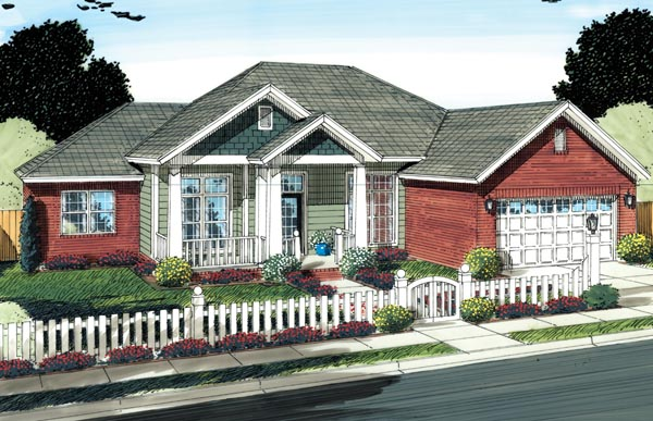 Craftsman, Traditional House Plan 66528 with 4 Beds, 2 Baths, 2 Car Garage Elevation