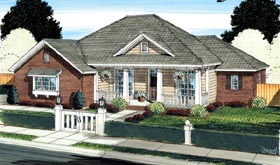 House Plan 66529   Traditional Style Plan with 1884 Sq Ft, 4 Bedrooms, 3 Bathrooms, 2 Car Garage Elevation