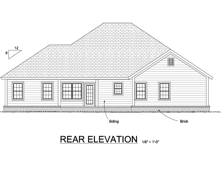 Traditional House Plan 66529 Rear Elevation