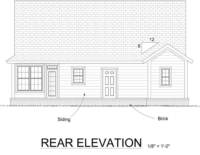 Country Ranch Traditional House Plan 66531 Rear Elevation