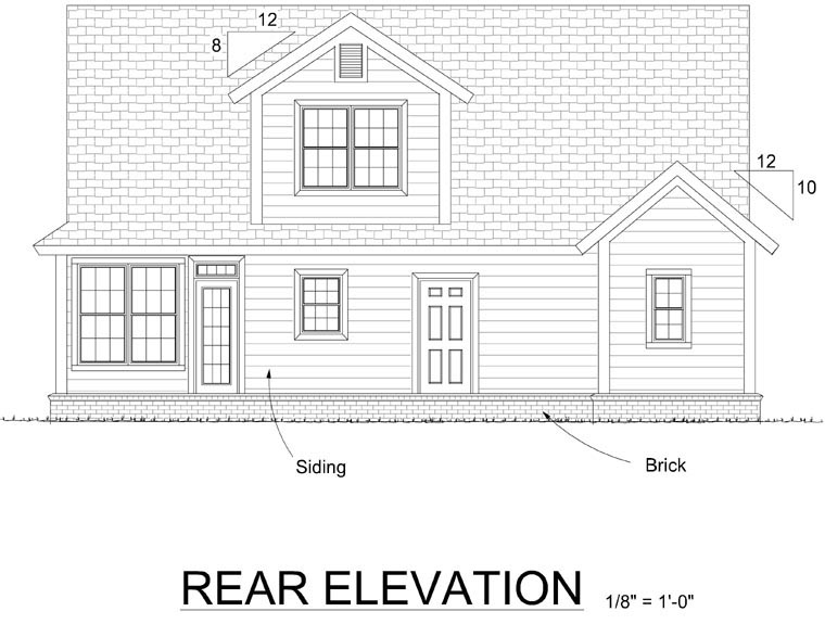 Traditional House Plan 66532 Rear Elevation