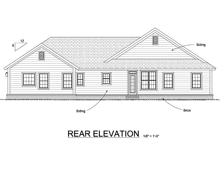 Traditional , Rear Elevation of Plan 66534
