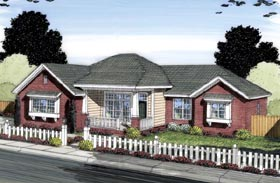 House Plan 66535   Contemporary Style Plan with 1698 Sq Ft, 3 Bedrooms, 2 Bathrooms, 2 Car Garage Elevation