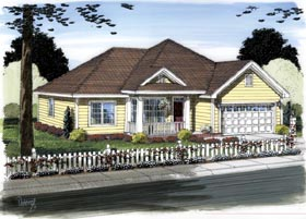 Traditional House Plan 66536 with 3 Beds, 2 Baths, 2 Car Garage Elevation