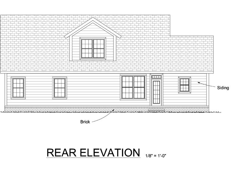 Traditional House Plan 66537 Rear Elevation