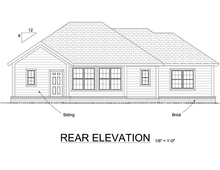Traditional House Plan 66538 Rear Elevation