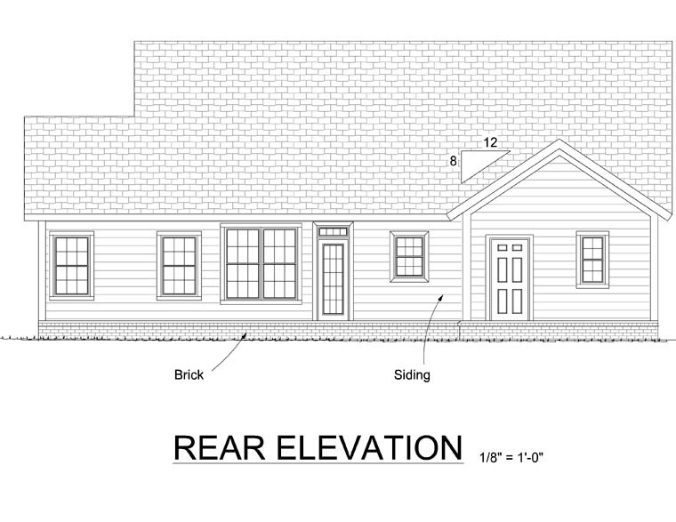 Traditional House Plan 66539 Rear Elevation