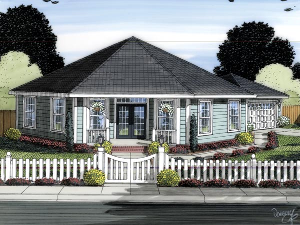 Contemporary , Elevation of Plan 66541