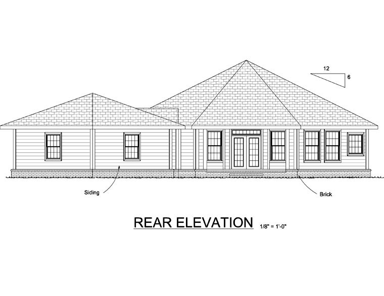 Contemporary , Rear Elevation of Plan 66541