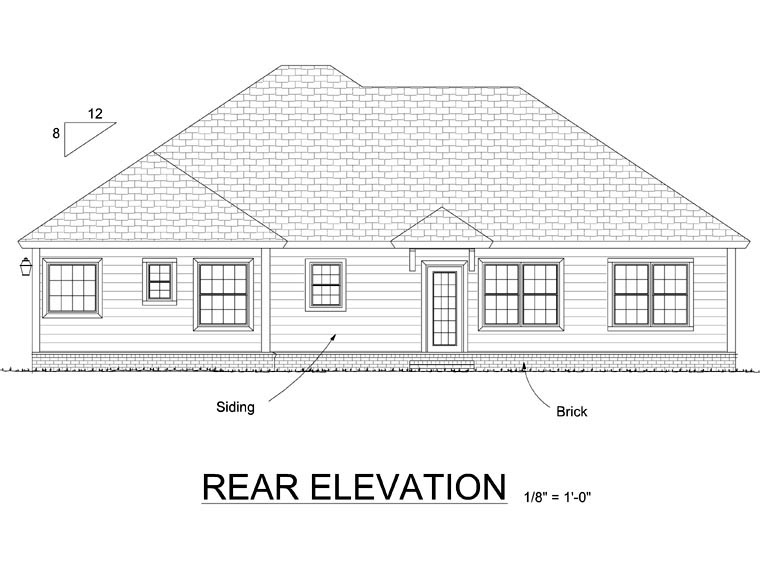 Traditional , Cottage House Plan 66546 with 3 Beds, 2 Baths, 2 Car Garage Rear Elevation