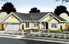 Ranch , Traditional House Plan 66547 with 3 Beds, 2 Baths, 2 Car Garage Elevation