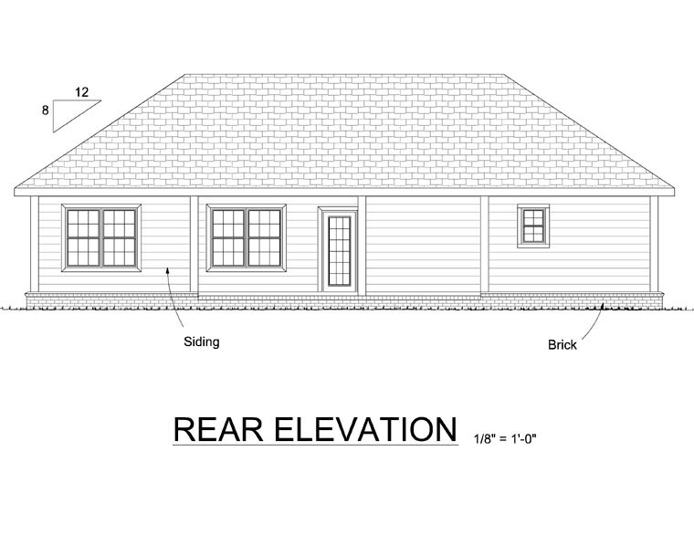 Ranch Traditional House Plan 66547 Rear Elevation