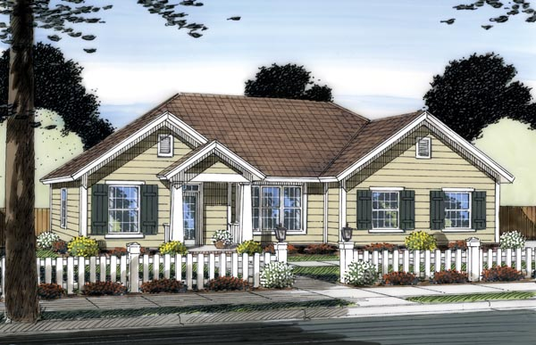 Traditional House Plan 66549 with 3 Beds, 2 Baths, 2 Car Garage Elevation