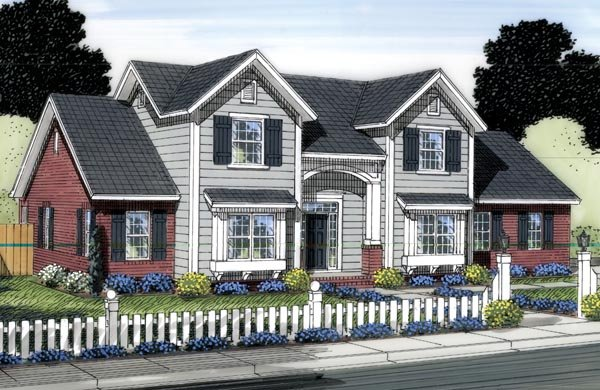 Traditional House Plan 66550 with 3 Beds, 3 Baths, 2 Car Garage Elevation