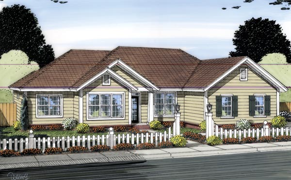 Traditional House Plan 66552 with 3 Beds, 2 Baths, 2 Car Garage Elevation