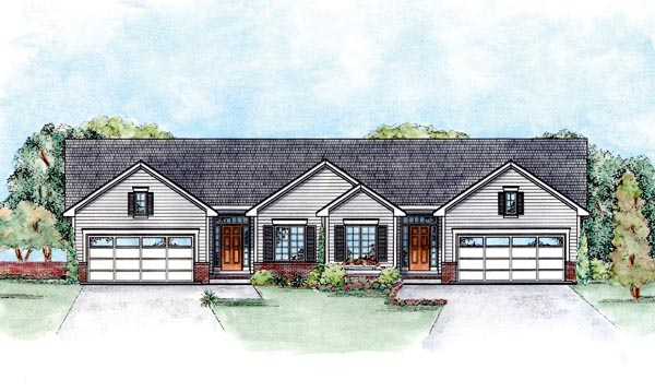 Multi-Family Plan 66555 | Traditional Style Multi-Family Plan with 2418 Sq Ft, 4 Bed, 4 Bath, 2 Car Garage Elevation