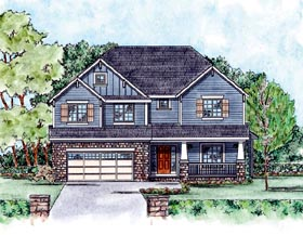 House Plan 66556 | Craftsman Style Plan with 2498 Sq Ft, 4 Bedrooms, 4 Bathrooms, 2 Car Garage Elevation