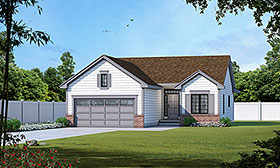 House Plan 66558 | Traditional Style Plan with 1209 Sq Ft, 2 Bedrooms, 2 Bathrooms, 2 Car Garage Elevation