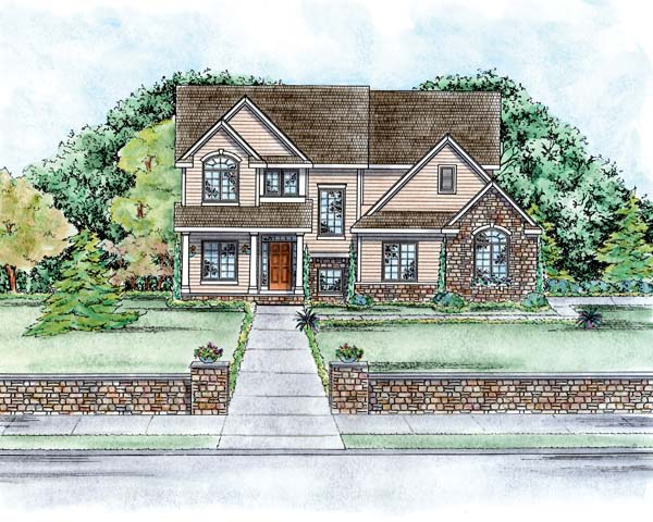 European House Plan 66563 Elevation