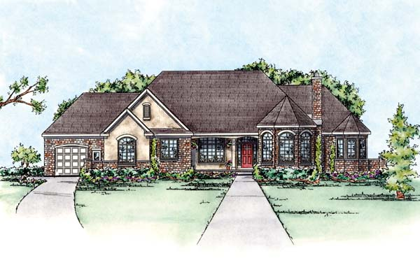 European House Plan 66565 Elevation