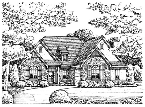 European House Plan 66566 with 2 Beds, 2 Baths, 2 Car Garage Elevation