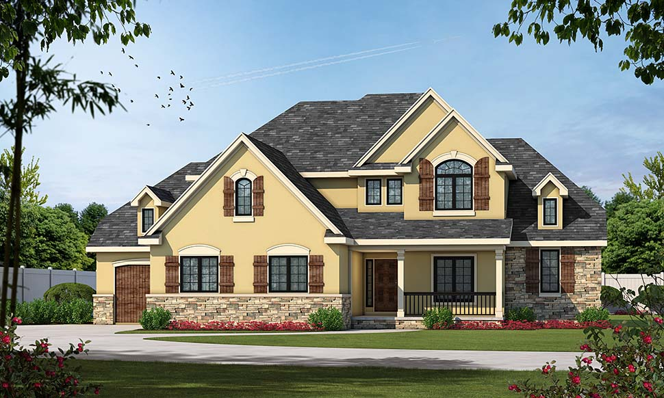 European House Plan 66567 with 4 Beds, 5 Baths, 3 Car Garage Picture 3