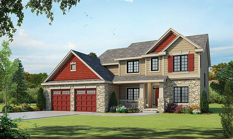 Craftsman House Plan 66575 with 4 Beds, 3 Baths, 2 Car Garage Front Elevation