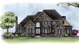 European House Plan 66585 with 4 Beds, 5 Baths, 4 Car Garage Elevation