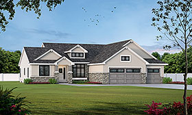 Traditional House Plan 66593 with 3 Beds, 3 Baths, 3 Car Garage Elevation