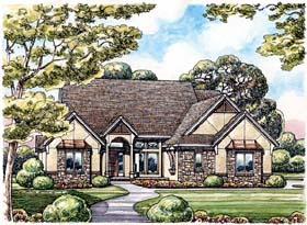 European House Plan 66594 with 2 Beds, 3 Baths, 3 Car Garage Elevation