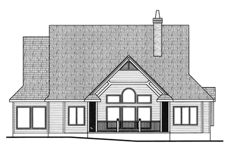 European House Plan 66594 with 2 Beds, 3 Baths, 3 Car Garage Rear Elevation