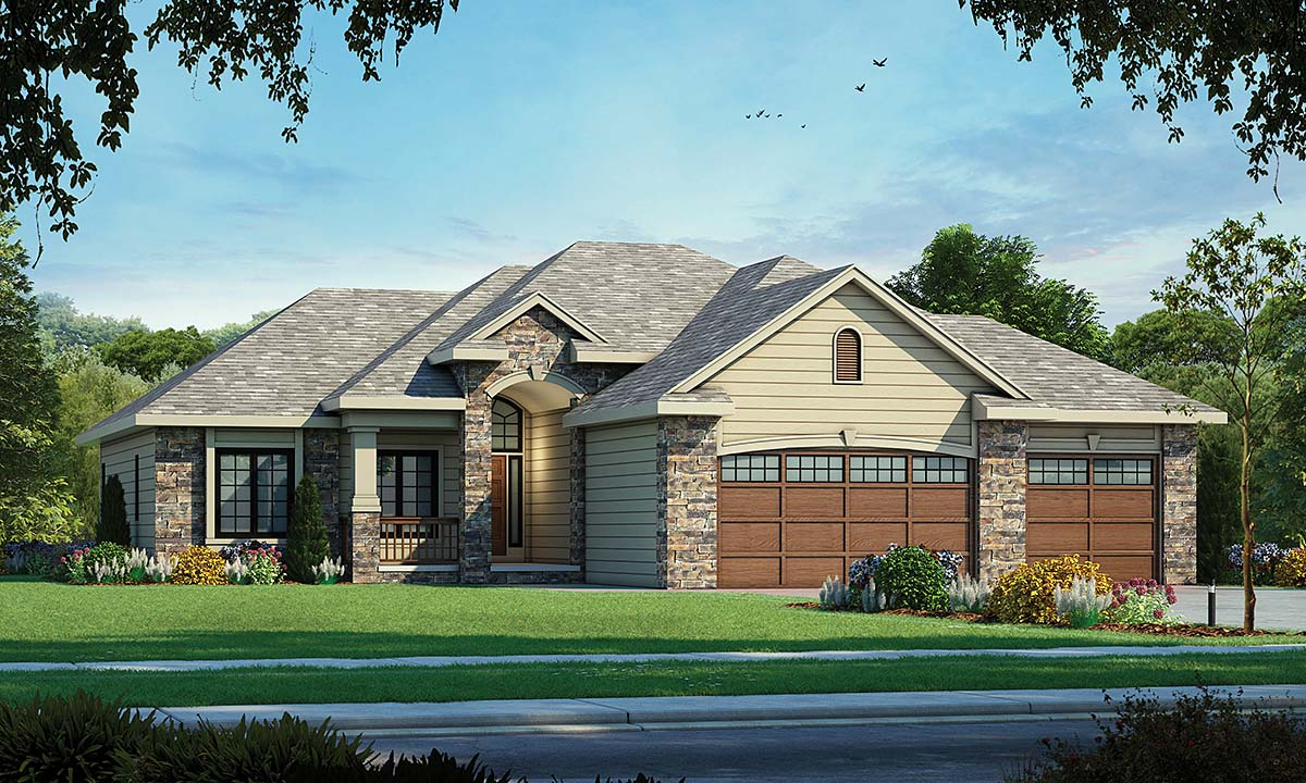 European House Plan 66597 with 3 Beds, 3 Baths, 3 Car Garage Elevation